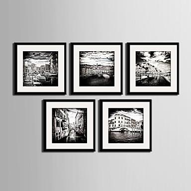 Buy Landscape / Architecture Framed Canvas Set Wall Art,PVC Black Mat Included Frame Art