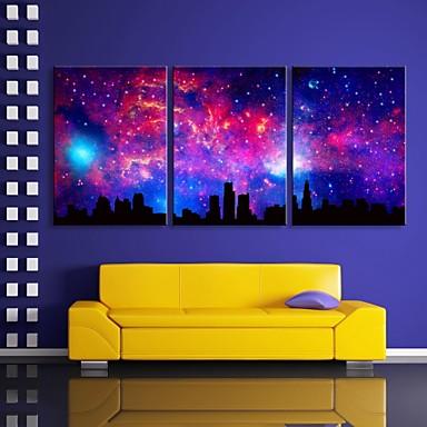 E-HOME® Stretched LED Canvas Print Art The Sky City Flash ...