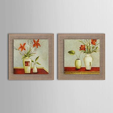 Peinture l 39 huile moderne ensemble de deux main fleur for Peinture lin naturel