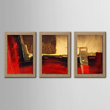 Peinture l 39 huile ensemble abstrait moderne de 3 peints for Peinture lin naturel
