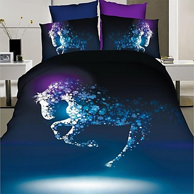 Duvet Cover Set,3D Horse Bedspread Duvet Cover Bedding ...