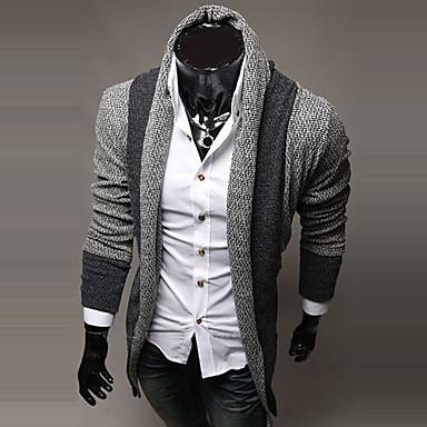 Men's Casual Striped Long Sleeve Regular Cardigan (Cotton/Wool)