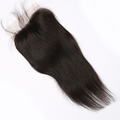 Buy 4x4 inch 10 Brazilian Human Hair Lace Closure Straight Piece Natural Colour Free Part