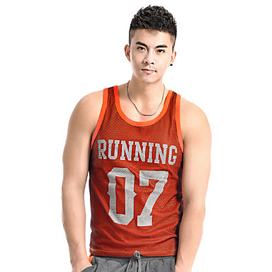 Men's Running Tops Fitness / Racing / Leisure Sports / Running Breathable / Quick Dry / Wearable Orange Sports Wear