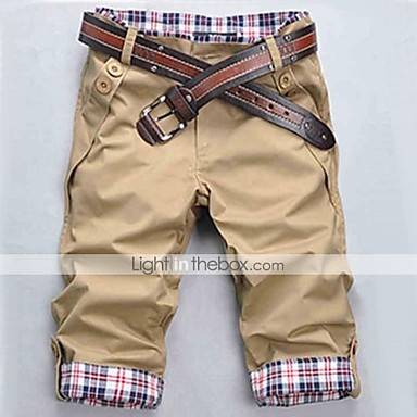 Men's Black/Beige/Brown Check Pattern Casual Cropped Pants