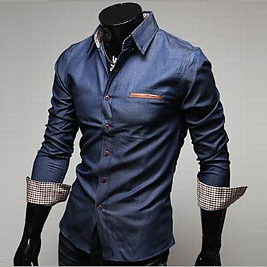 Men's Solid Long Sleeve Denim Shirt,Cotton Casual / Work / Formal Style Blue Color All Seasons Men's Fashion Comfortable Clothing