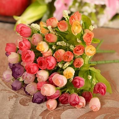 Buy 10.2 inchL Set 1 Mini 15 Heads Spring Rose Silk Cloth Flowers