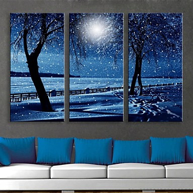 E HOMER Stretched LED Canvas Print Art Snowy Night Flash Effect