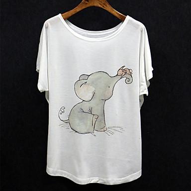Women 39 s elephant print batwing sleeve regular t shirt for Elephant t shirt women s