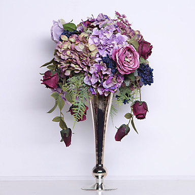 """Crazy Love A"" Neo-classical style Rose and Hydrangea With Alloy Vase for Des..."