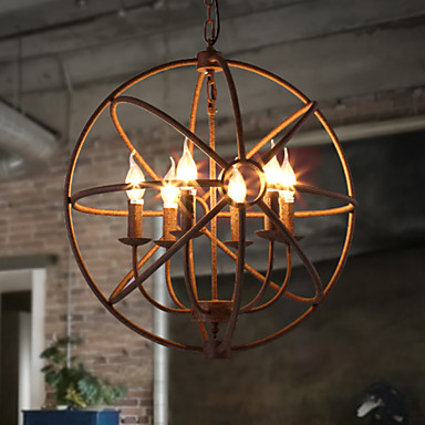 Buy Sitting Room Lights Nordic Country, Wrought Iron American Retro Candle Chandelier Black Villa