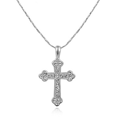 Buy T&C Women's Lovely 18K White Gold Plated Clear Austria Crystal Cross Pendant Necklace