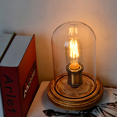 fashion wood table lamp glass bell jar wooden table lamp bedroom