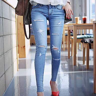Cool Jeans Women Denim Fashion Trousers Tattered Distressed Tight Jeans