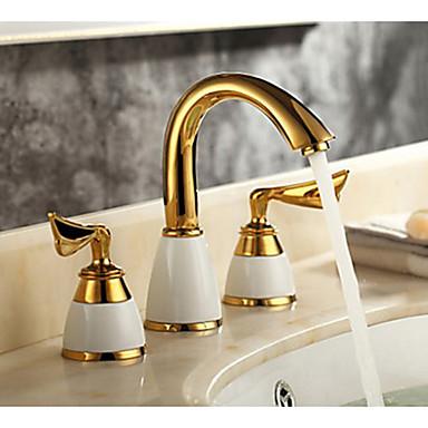 3 pi ces couleur dor e robinet mitigeur 2 bassin cascade robinet vier salle de bains de robinet. Black Bedroom Furniture Sets. Home Design Ideas