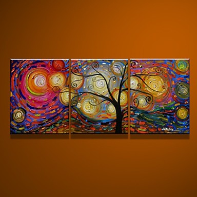 100% Hand-painted Oil Painting on Canvas Rich Tree 3pcs/set No Frame