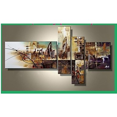 100% Hand-painted The City Landscape Abstract Oil Painting on Canvas 4pcs/set...