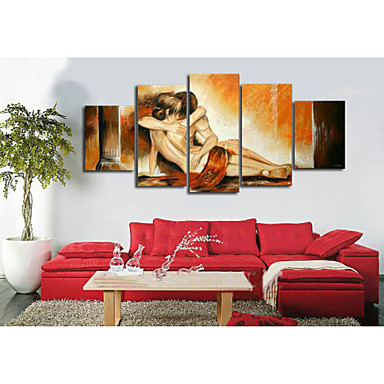 100% Hand-painted NAbstract Yellow Women Boy Love Abstract Oil Painting on Ca...