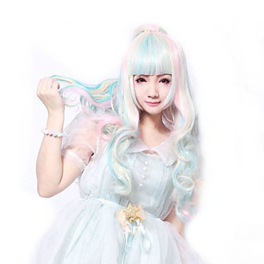 Buy 68 Cm Harajuku Lolita Perruque Full Curly Wig Anime Rainbow Ombre Cosplay Wigs Long Synthetic 2 Clips 0.6kg