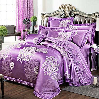 fleur ensembles housse de couette 4 pi ces m lange soie coton luxe imprim m lange soie coton. Black Bedroom Furniture Sets. Home Design Ideas