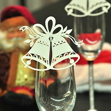 12pcs bell wine glass card escort cup card table name for 12 days of christmas table numbers