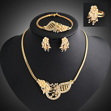 Buy Lucky Doll Women's Vintage 18K Gold Plated Zirconia Flower Necklace & Earrings Bracelet Ring Jewelry Sets