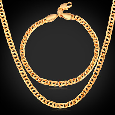 Buy U7® Retro Helix Chain Bracelet 18K Real Gold Plated Fashion Mens Necklace Jewelry Set