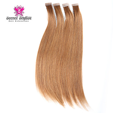 Buy 20inch 2Silky Straight Skin Weft Tape Brazilian Virgin Human Hair Extensions #8 Chestnut Brown