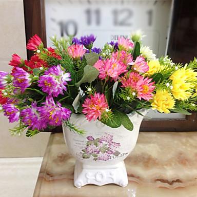 Buy Artificial Flowers Home Decoration Bright Color Chrysanthemum Silk Flower Holiday Decorations