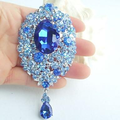 3.94 Inch Silver-tone Blue Rhinestone Crystal Drop Flower Brooch Pendant Art ...