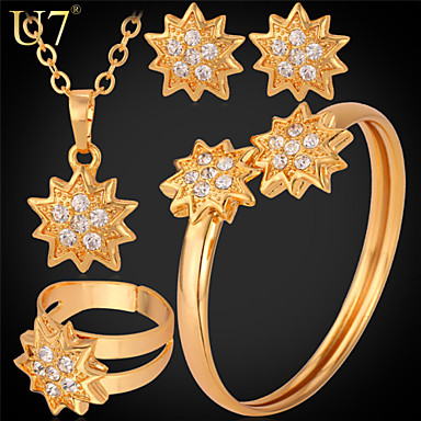 Buy U7® Women's Cute Sparks Stud Earrings Cuff Bracelet Ring 18K Gold Plated Rhinestone Necklace New Trendy Jewelry Set
