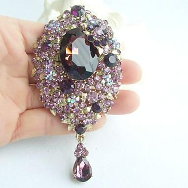 3.94 Inch Gold-tone Purple Rhinestone Crystal Drop Flower Brooch Pendant Art ...