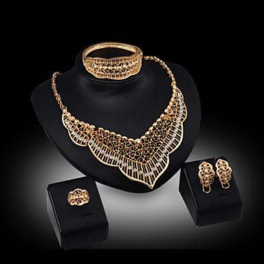 Buy Lucky Doll Women's Vintage 18K Gold Plated Zirconia Tassel Necklace & Earrings Bracelet Ring Jewelry Sets