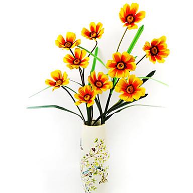 5 t tes de chrysanth me toiles en tissu de soie fleur for Fleurs artificielles tissu