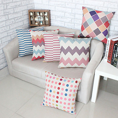 Buy Set 6 Geometric Patterns Pillowcase Sofa Home Decor Cushion Cover (18*18 inch)