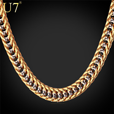 Buy U7® Men's Gold Franco Chain Rock Band Jewelry Platinum/Gold Plated Unique Hip Hop Two-Tone Necklace