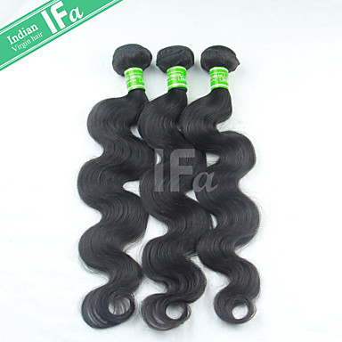 Buy Body Wave Indian Human Virgin Hair Natural Color 1B Extension