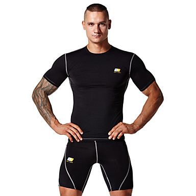 Men's Short Sleeve Running Tops Clothing Sets/Suits Wearable Lightweight Materials Soft Sweat-wicking Compression Sports WearYoga Pilates