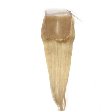 "1 YR Warranty Remy Human Hair Lace Closure 4""*4"" #613 Blonde Straight Top Closures Hair 10""-18"""