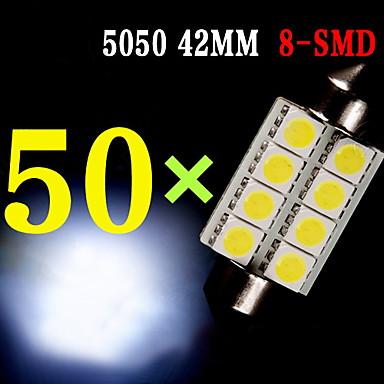 Buy 50 X White 42MM 5050 8SMD Festoon Dome Map Interior LED Light bulb 211-2 569