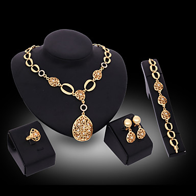 Buy Lucky Doll Women's Vintage 18K Gold Plated Zirconia Cut Long Necklace & Earrings Bracelet Ring Jewelry Sets