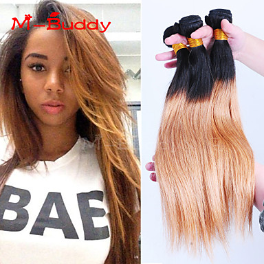 Buy 8 inch-30 inch Brazilian Virgin Hair Color 1B27 Straight Ombre Human hair Weaves