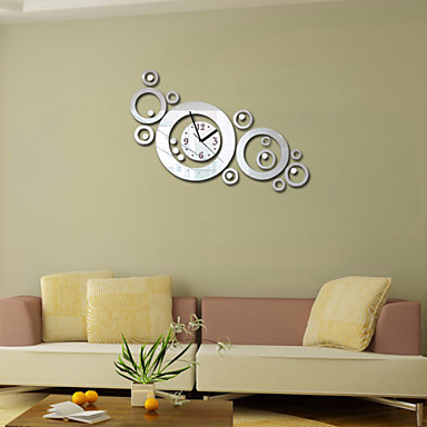 Acrylic diy 3d mirror home decor circular ring wall clock for 3d acrylic mirror wall sticker clock decoration decor