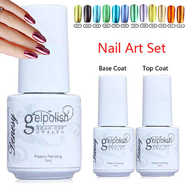 Buy YeManNvYou®Metal Color UV Gel Polish No.1-12(5ml, Nail +Base Coat + Top Coat)