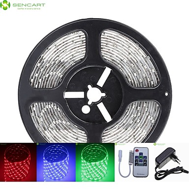 Buy 5M 75W 300x5050 SMD LED DC12V IP68 Waterproof Strip Light + 10Key Remote Control RGB 12V 2A power AC100-240V