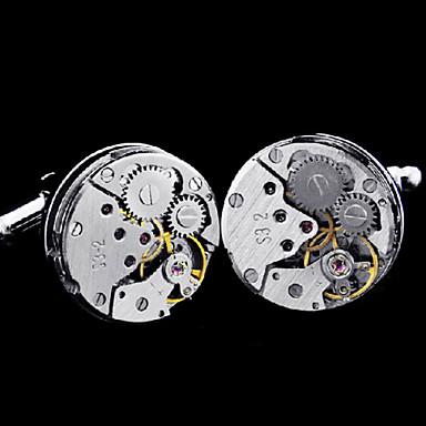 (Clock Cannot Run)Fashion Copper Men Gift Jewelry Silver Clock Quartz Shirt Button Cufflinks(1Pair)