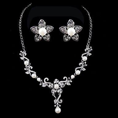 Elegant design alloy with rhinestone and pearls wedding for Bridesmaid jewelry sets under 20