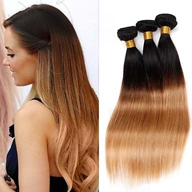 Buy 10 inch-30 inch Peruvian Virgin Hair Color 1B27 Straight Human Weaves