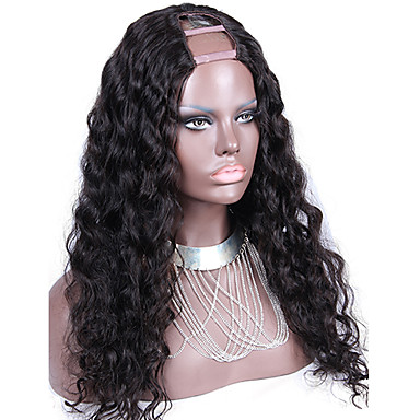 Buy Loose Wave U Part Wig Peruvian Virgin Human Hair Unprocessed Full Density 2X4inch Middle