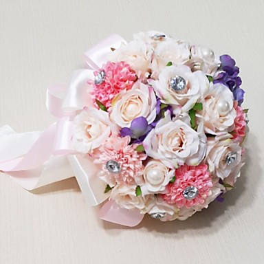 Buy Wedding Flowers Round Roses Bouquets / Party/ Evening Satin Bead Rhinestone 9.84 inch(Approx.25cm)